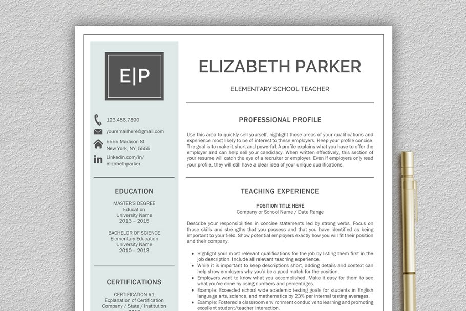 Teacher Cv Teacher Resume Resume Templates Creative Market