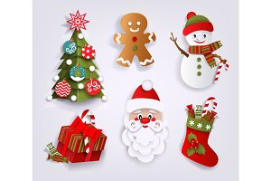 Paper cut set of Christmas decoration elements