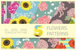 5 Vector Flowers Seamless Pattern