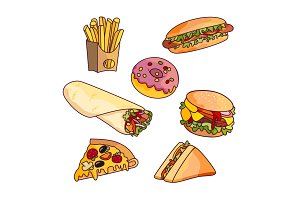 Vector cartoon flat fast food set isolated