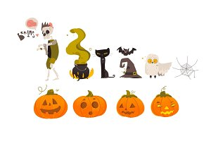 Big set, collection of cartoon Halloween objects