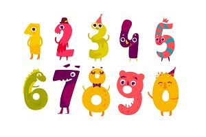 Set of cute number characters, math symbols