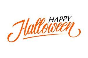 Happy Halloween hand lettering.
