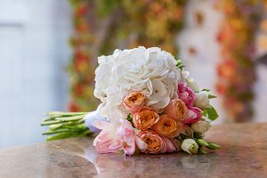 beautiful bright wedding bouquet