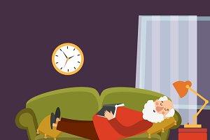 Old man sleeping on sofa