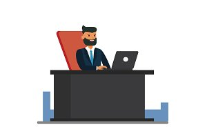 big boss sitting at office desk cartoon flat vector illustration concept on isolated white background