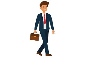 businessman going to work cartoon flat vector illustration concept on isolated white background