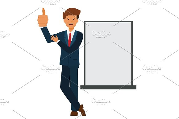 businessman showing thumb up cartoon flat vector illustration concept on isolated white background