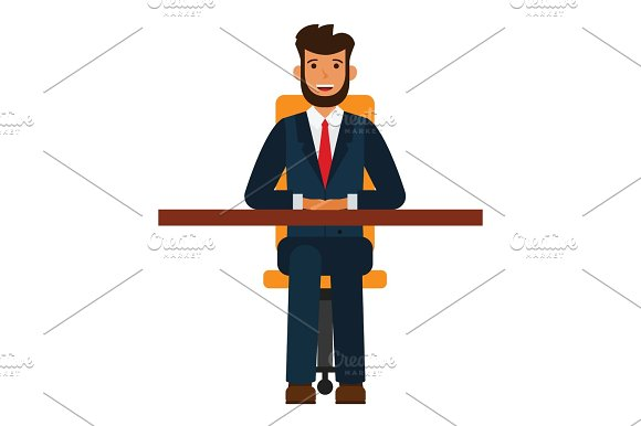 Businessman sitting on chair cartoon flat vector illustration concept on isolated white background