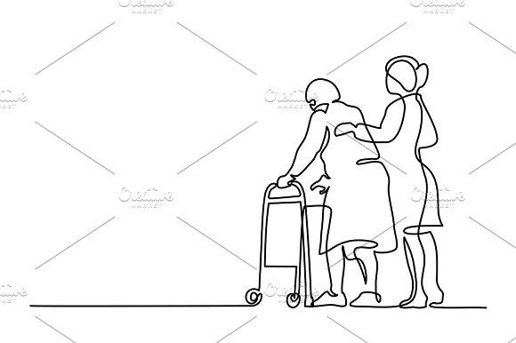 Woman help old woman walking