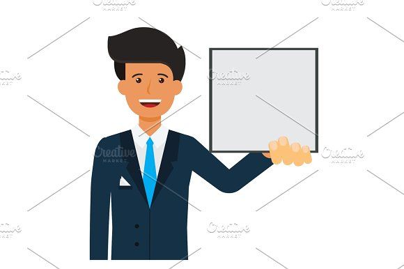 businessman with blank file cartoon flat vector illustration concept on isolated white background