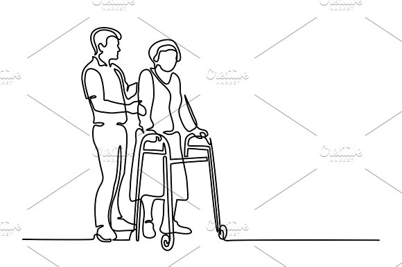 Man help old woman in Illustrations