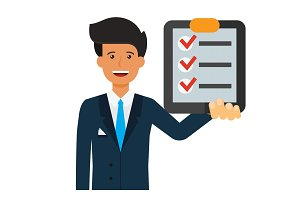 businessman with check list  cartoon flat vector illustration concept on isolated white background