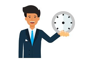 businessman with clock in hand cartoon flat vector illustration concept on isolated white background