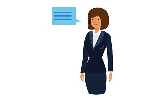 ceo owner woman cartoon flat vector illustration concept on isolated white background