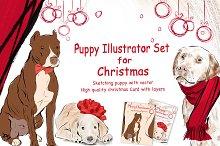 Puppy Illustrator Set For Christmas