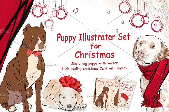 Puppy Illustrator Set For Christmas