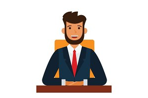 chairman of the board cartoon flat vector illustration concept on isolated white background