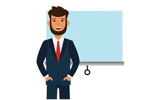 entrepreneur man startup speech cartoon flat vector illustration concept on isolated white background