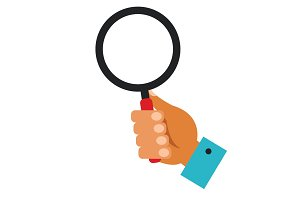 hand holding magnifying glass cartoon flat vector illustration concept on isolated white background