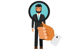 human resources search candidate cartoon flat vector illustration concept on isolated white background