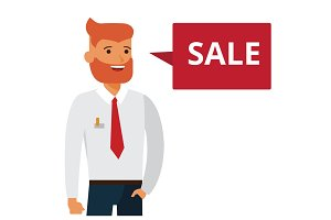 man says sale cartoon flat vector illustration concept on isolated white background
