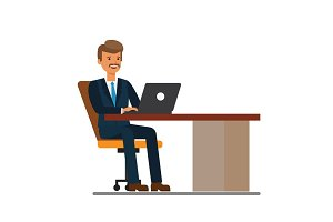 manager working at laptop cartoon flat vector illustration concept on isolated white background