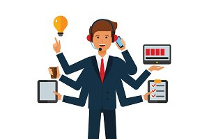 multitasking businessman  cartoon flat vector illustration concept on isolated white background
