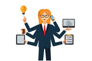 multitasking businesswoman cartoon flat vector illustration concept on isolated white background