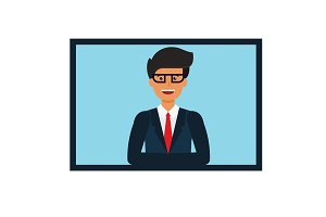 online businessman presentation cartoon flat vector illustration concept on isolated white background