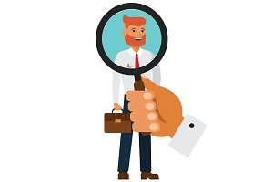 recruitment, hiring concept cartoon flat vector illustration concept on isolated white background