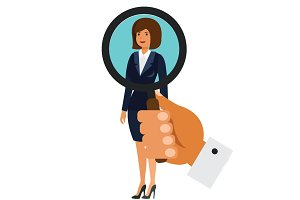 search for businesswoman concept cartoon flat vector illustration concept on isolated white background