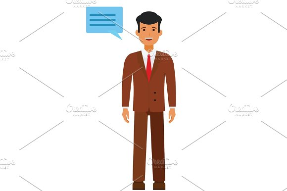 Standing Businessman With Speech Cartoon Flat Vector Illustration Concept On Isolated White Background