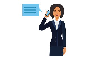 business ceo woman making phone call cartoon flat vector illustration concept on isolated white background