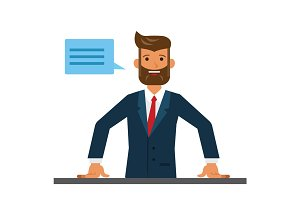 Business man entrepreneur close up cartoon flat vector illustration concept on isolated white background
