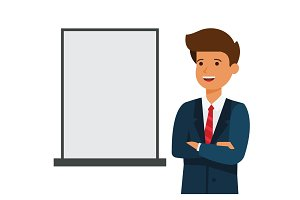 business man showing blank advertising board cartoon flat vector illustration concept on isolated white background