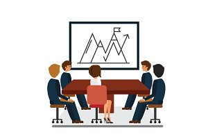 business meeting, marketing presentation cartoon flat vector illustration concept on isolated white background