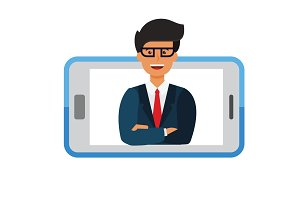 business mobile application,  businessman in smartphone cartoon flat vector illustration concept on isolated white background