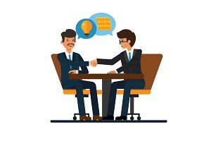 Business negotiations, businessmen shaking hands at office desk cartoon flat vector illustration concept on isolated white background