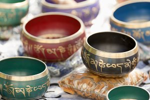 Tibetan bowls in a Spanish market