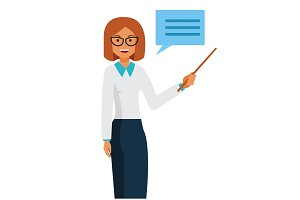 Business woman teacher standing with pointer cartoon flat vector illustration concept on isolated white background