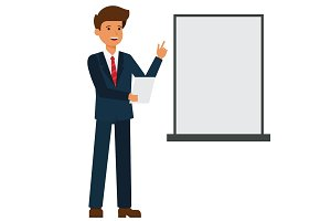 businessman is making presentation cartoon flat vector illustration concept on isolated white background