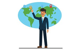 businessman pointing at global world map cartoon flat vector illustration concept on isolated white background