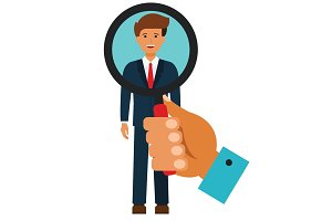 businessman search with magnifying glass cartoon flat vector illustration concept on isolated white background
