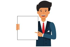 businessman showing blank document cartoon flat vector illustration concept on isolated white background