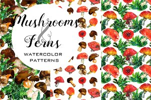 Watercolor mushroom and ferns set