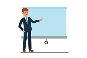 Businessman showing presentation board cartoon flat vector illustration concept on isolated white background