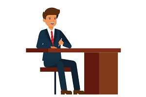 businessman sitting on office table  cartoon flat vector illustration concept on isolated white background
