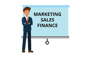 businessman with marketing, finance, sales presentation cartoon flat vector illustration concept on isolated white background