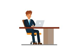 Businessman working at desk at notebook cartoon flat vector illustration concept on isolated white background